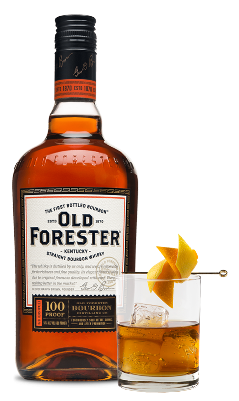 Photo of Old Forester 100 Proof and cocktail glass