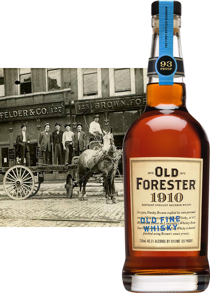 Old Forester bottle next to turn of century photo