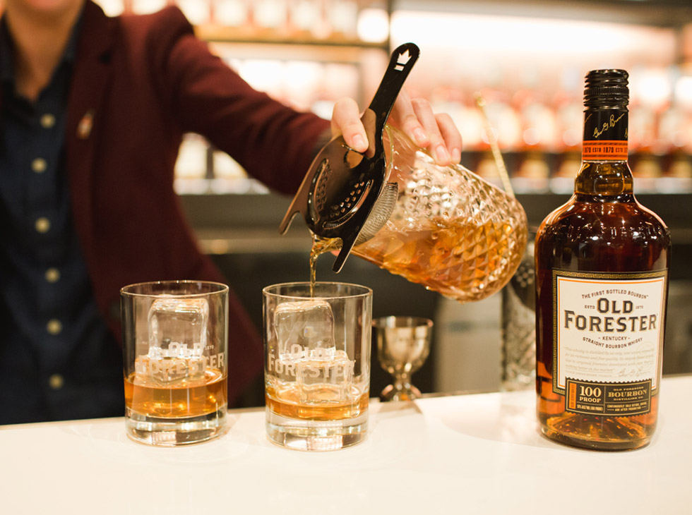 Old Forester cocktails served by bartender