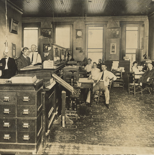 photo of office interior turn of century