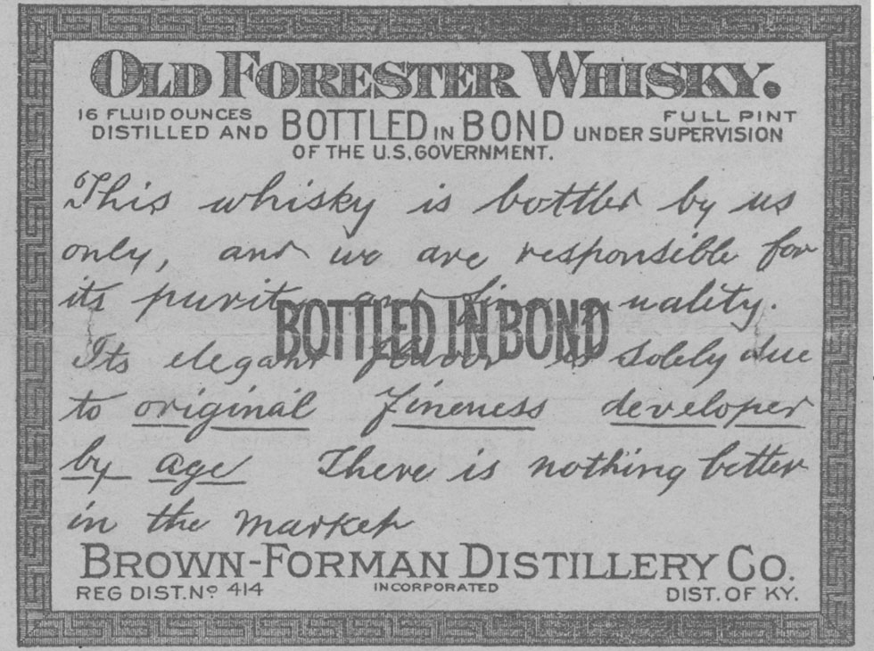 Old Forester Whisky label photo