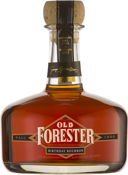A bottle of Old Forester 2003 Fall Birthday Bourbon on a black background.