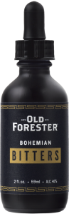 A black bottle with an eyedropper of Old Forester Bohemian Bitters on a black background.