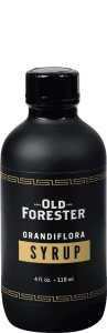 A black bottle with an eyedropper of Old Forester Perfect Grandiflora Syrup on a black background.