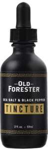A black bottle with an eyedropper of Old Forester Salt & Pepper Tincture on a black background.