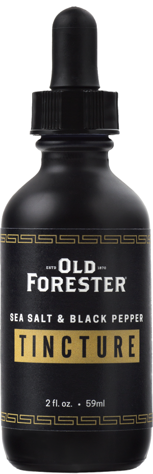 A black bottle with an eyedropper of Old Forester Salt & Pepper Tincture on a black background.