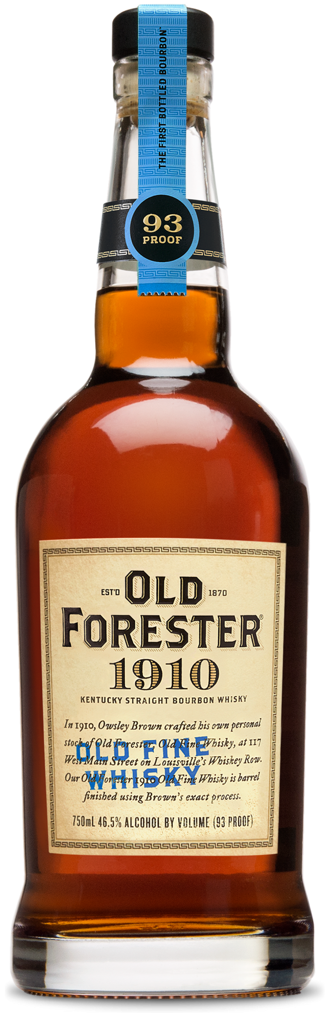 A bottle of Old Forester 2019 Birthday Bourbon on a black background.