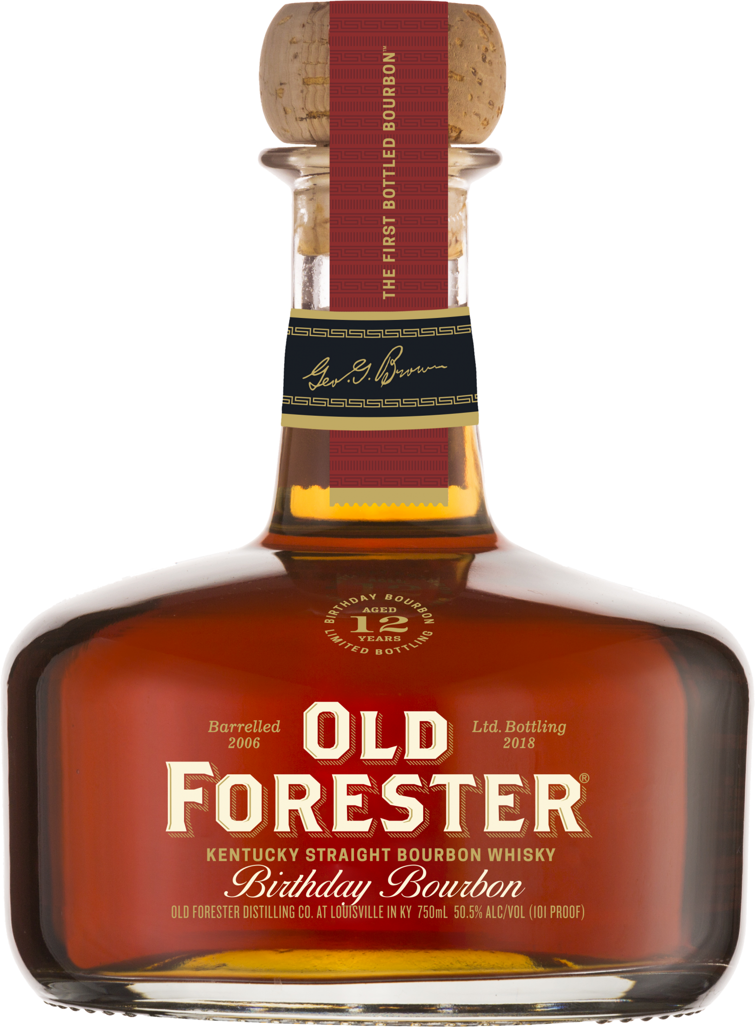A bottle of Old Forester 2018 Birthday Bourbon on a black background.