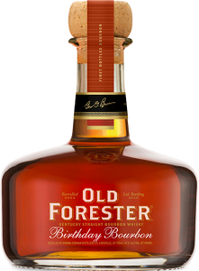 A bottle of Old Forester 2016 Birthday Bourbon on a black background.