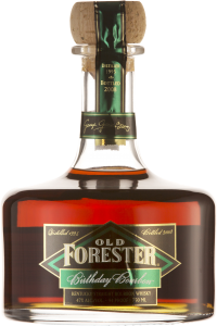 A bottle of Old Forester 2008 Birthday Bourbon on a black background.