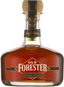 A bottle of Old Forester 2003 Spring Birthday Bourbon on a black background.