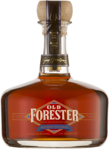A bottle of Old Forester 2004 Birthday Bourbon on a black background.