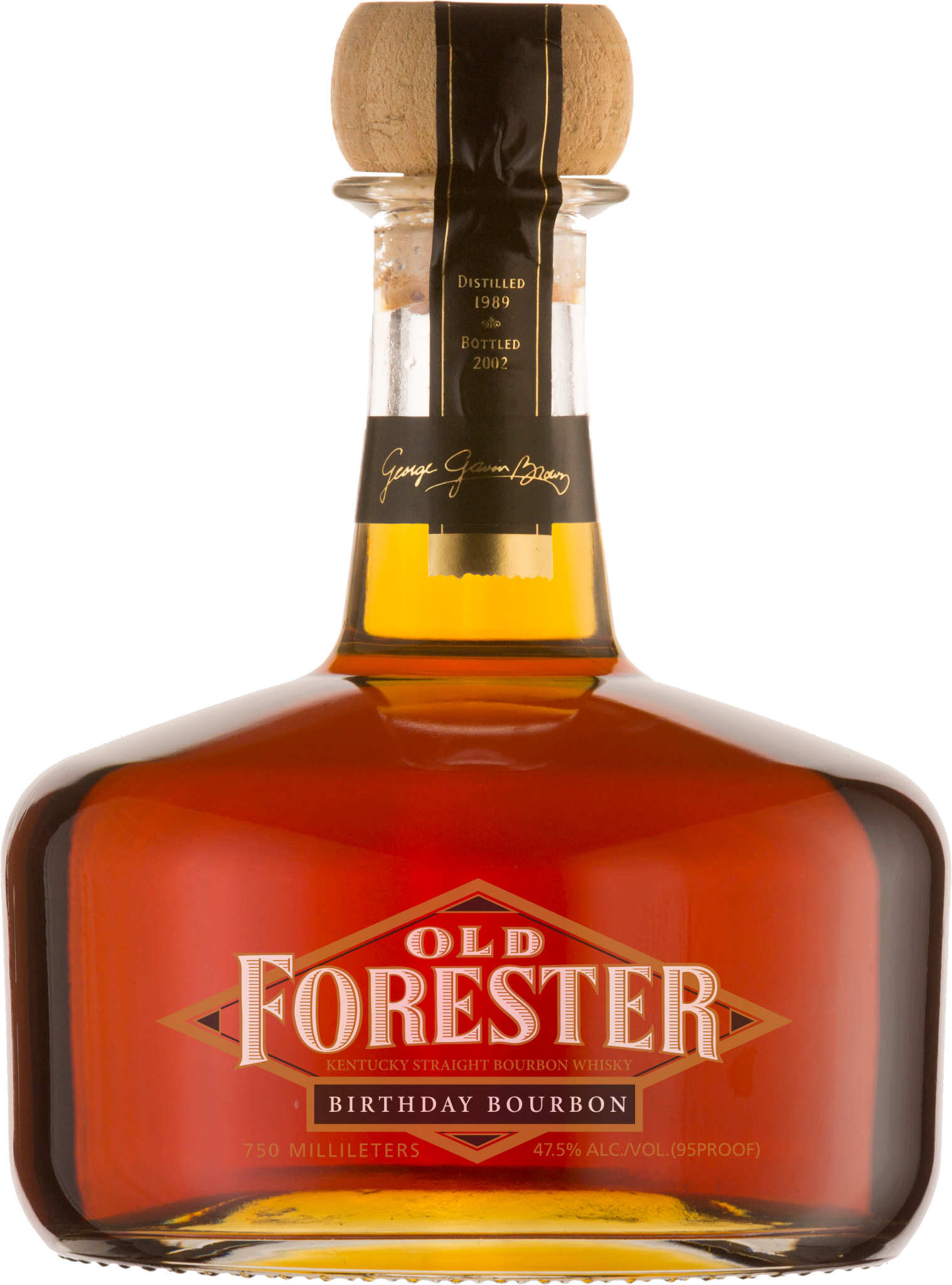 A bottle of Old Forester 2003 Birthday Bourbon on a black background.