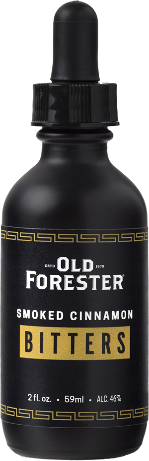 A black bottle with an eyedropper of Old Forester Smoked Cinnamon Bitters on a black background.