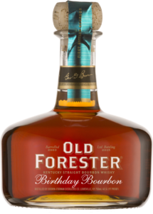 A bottle of Old Forester 2015 Birthday Bourbon on a black background.