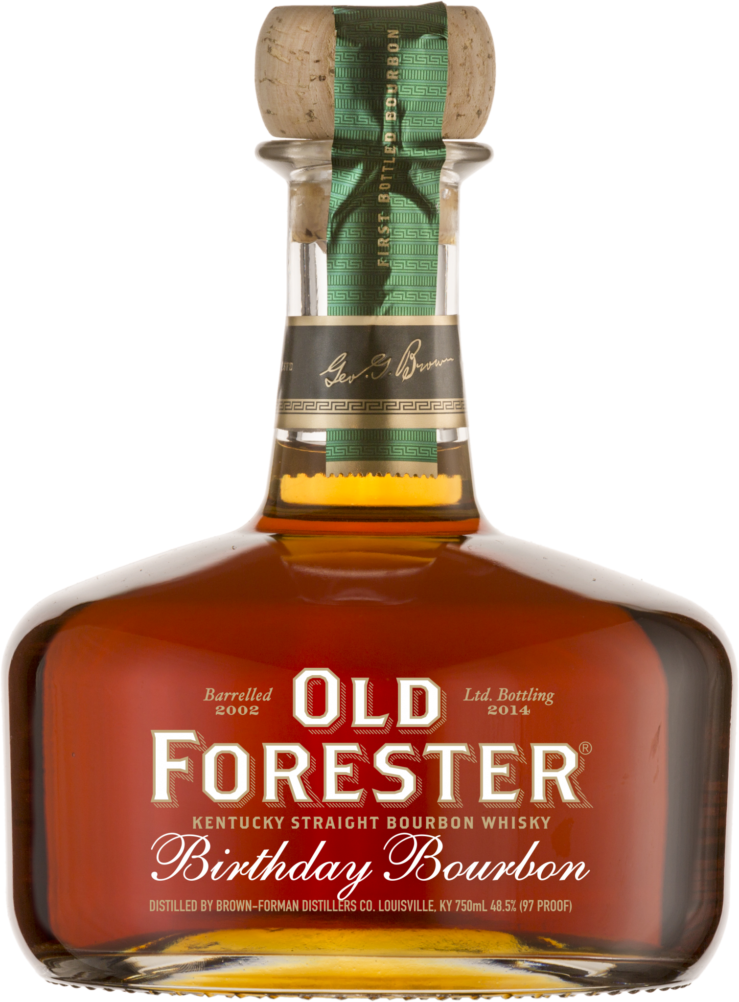 A bottle of Old Forester 2014 Birthday Bourbon on a black background.