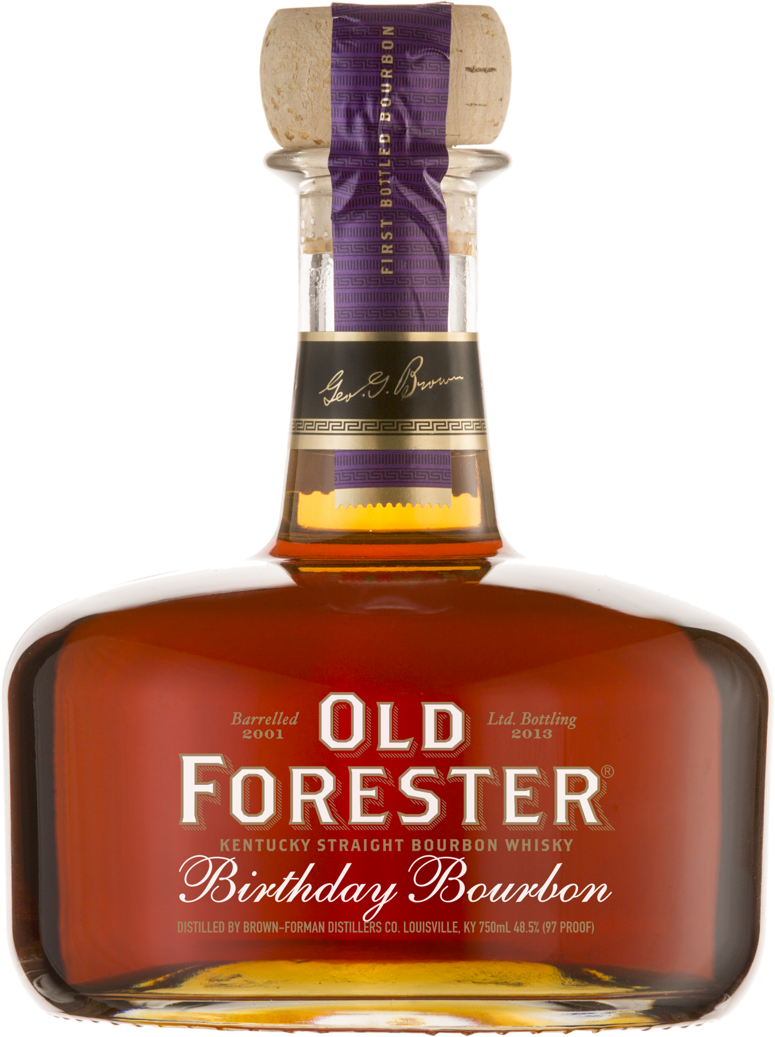A bottle of Old Forester 2013 Birthday Bourbon on a black background.