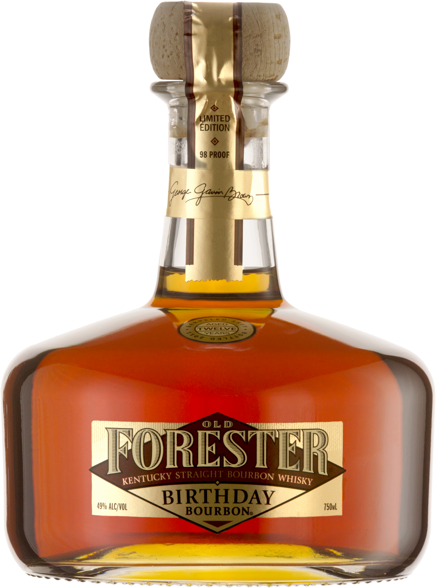 A bottle of Old Forester 2011 Birthday Bourbon on a black background.