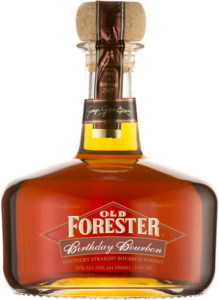 A bottle of Old Forester 2007 Birthday Bourbon on a black background.
