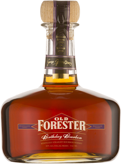A bottle of Old Forester 2005 Birthday Bourbon on a black background.