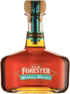 A bottle of Old Forester 2006 Birthday Bourbon on a black background.