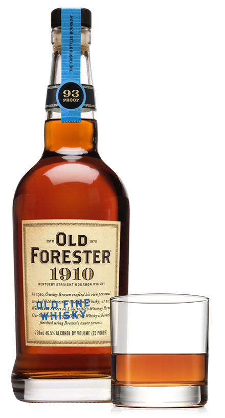 Old Forester 1910 bottle and cocktail glass
