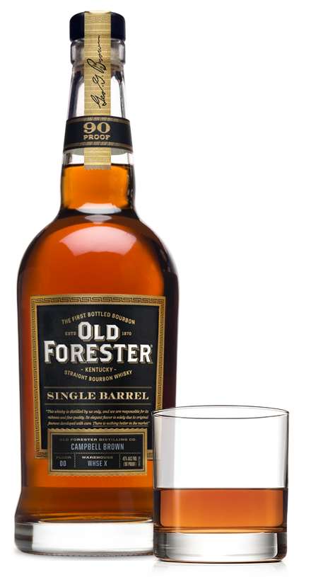 Old Forester Single Barrel and cocktail glass
