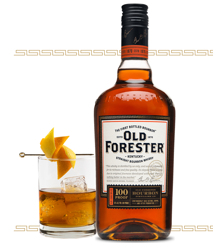 Old Forester whisky bottle and cocktail glass